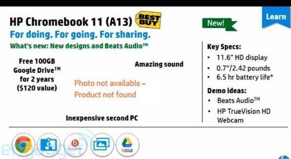 Рекламный проспект дает представление о габаритах, массе и времени автономной работы Chromebook 11