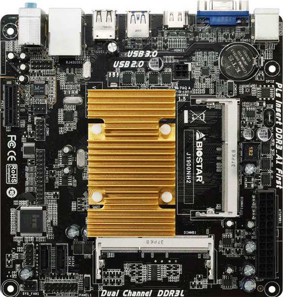 Оснащение платы Biostar J1900NH2 включает порт Gigabit Ethernet