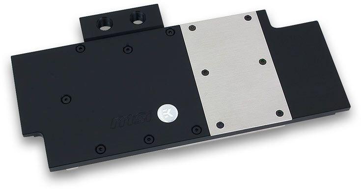В водоблоке EK-FC R9-390X TF5 используется разделение потока охлаждающей жидкости