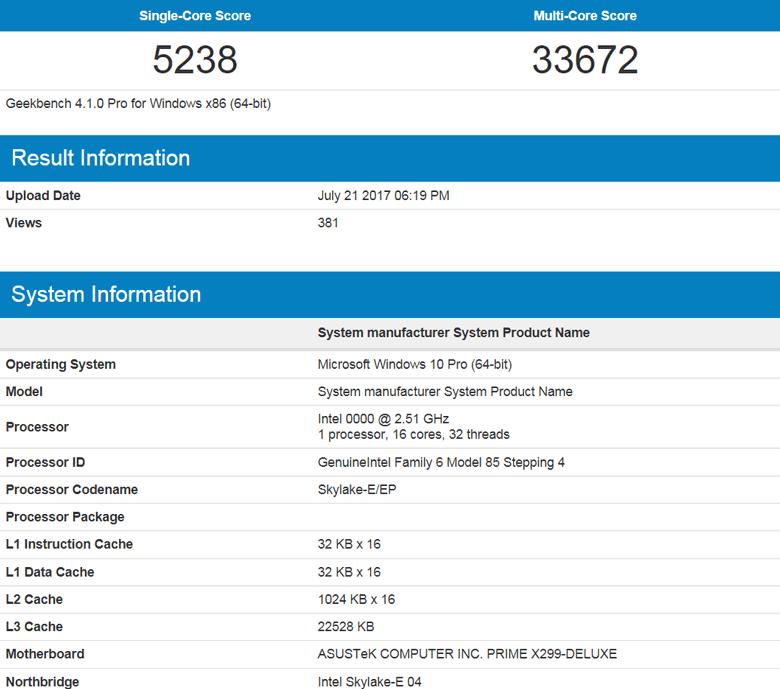 16 ядер Intel Core i9-7960X способны одновременно исполнять 32 потока команд